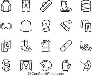 lijn, snowboarden, iconen