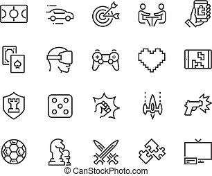 lijn, spelen, iconen
