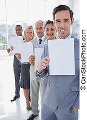lijn, team, zakelijk, vasthouden, witte pagina's