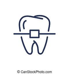lijn, teeth, mager, bretels, pictogram