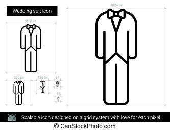 lijn, trouwfeest, icon., kostuum