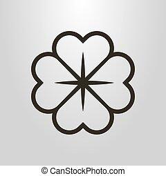 lijn, vector, kunst, four-leafed, bloem, klavertje, symbool...