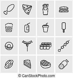 lijn, vector, pictogram, set, fastfood