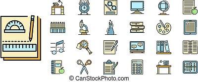 lijn, vector, pictogram, set, kleur, huiswerk