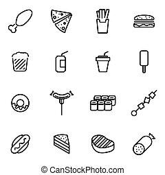 lijn, vector, set, fastfood, pictogram