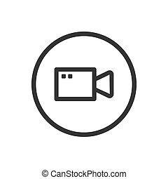 lijn, video, witte achtergrond, pictogram