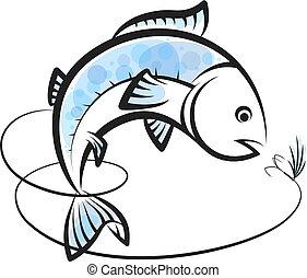 lijn, visje, lokaas, visserij