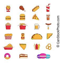 lijn, voedingsmiddelen, mager, pictogram, snack, vasten, drank, ouwe rommel