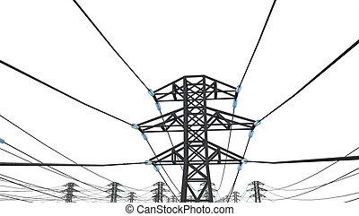 lijn, witte achtergrond, macht