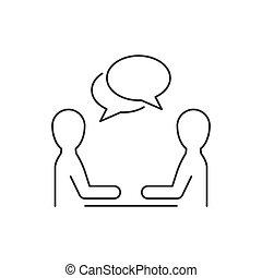 lijn, witte , discussie, mannen, twee, achtergrond, pictogram