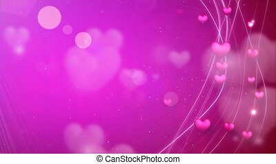 lijnen, en, hartjes, roze, romantische, lus