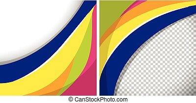 lijnen, golvend, achtergronden, twee, kleurrijke