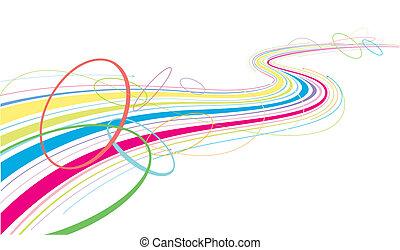 lijnen, kleurrijke, vloeiend