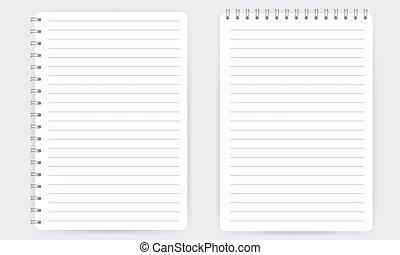 lijnen, notepad, spiraalvormig notitieboekje, vrijstaand, ...