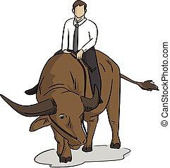 lijnen, vrijstaand, illustratie, achtergrond., vector, black , zakenman, paardrijden, witte , buffel