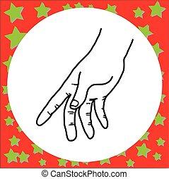 lijnen, vrijstaand, illustratie, hand, vector, zwarte achtergrond, vasthouden, witte , gebaar