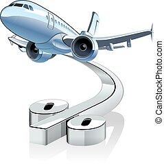 lijnvliegtuig, spotprent, korting, vector, percentage, simbol.