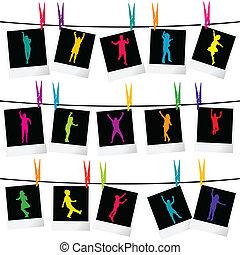 lijstjes, foto, silhouettes, kinderen, verzameling