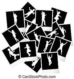 lijstjes, foto, silhouettes, stapel, kinderen
