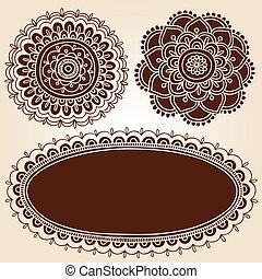 lijstjes, henna, set, bloem, vector