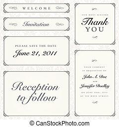 lijstjes, kalligrafie, set, vector