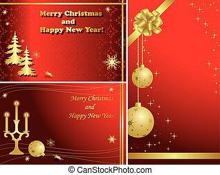 lijstjes, kerstmis, goud, rood