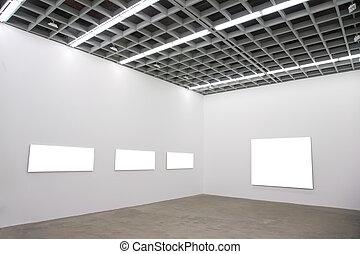 lijstjes, op, muur, in, zaal