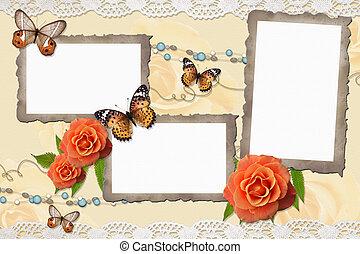 lijstjes, ouderwetse , achtergrond, rozen