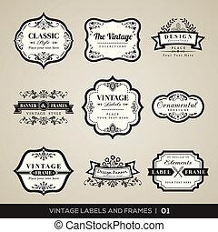 lijstjes, ouderwetse , etiketten