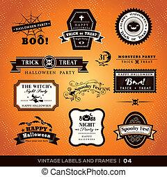 lijstjes, ouderwetse , etiketten, halloween