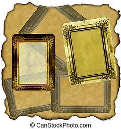 lijstjes, ouderwetse , papier, oud, plakboek