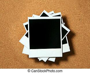 lijstjes, ouderwetse , polaroid, corkboard, het liggen
