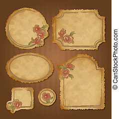 lijstjes, ouderwetse , set, floral, retro