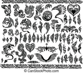 lijstjes, tatoeëren, set, grens, draken