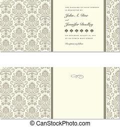 lijstjes, vector, damast, trouwfeest