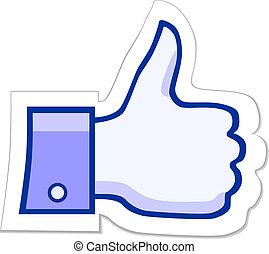lik, facebook, knapp, den