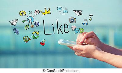 lik, smartphone, begrepp