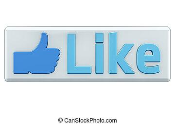 """like"", כפתר, לבן, render, 3d"