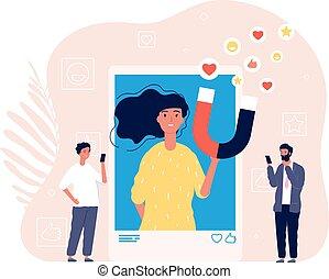 Like addiction. Woman photo selfie, addict of social media. Man likes girl image in smartphone vector illustration