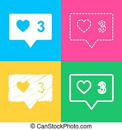 Like and comment sign. Four styles of icon on four color squares.