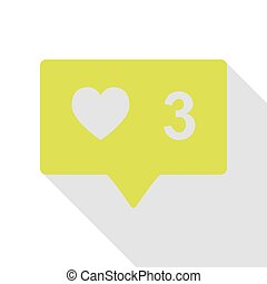 Like and comment sign. Pear icon with flat style shadow path.