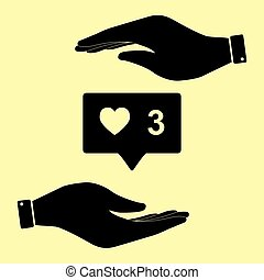 Save or protect symbol by hands. - Like and comment sign....