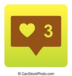 Like and comment sign. Vector. Brown icon at green-yellow gradient square with rounded corners on white background. Isolated.