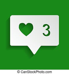 Like and comment sign. Vector. Paper whitish icon with soft shadow on green background.