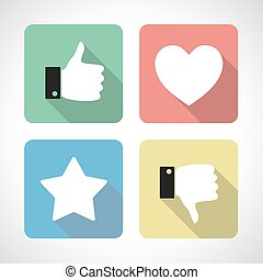 Four colorful flat icons with long shadow. Thumb up, thumb down, star and heart. Social media pictogram. Like and dislike, favorite item and customer's choiceconcept.