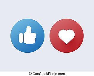 Like and dislike. Red disapproval and green success positive and negative reviews from satisfied customers.