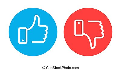 Like and dislike symbols. Circle recommended blue sign and negative feedback red element with hand flat vector icons
