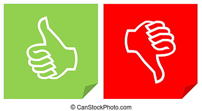 Colorful like and dislike vote icons in white background