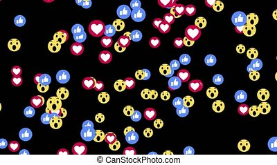 Like and heart icons for live stream video chat likes 4K 3D Green Screen Loop Animation background. Thumb up like and heart web buttons Live animation screen.