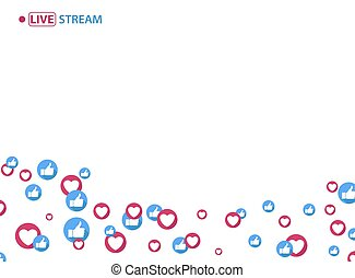 Like and heart icons for live stream video